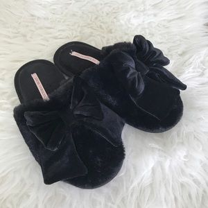 Victoria Secret Black Velvet Bow Slippers